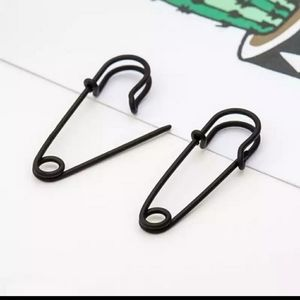 Brand New Black Safety Pin Earrings.